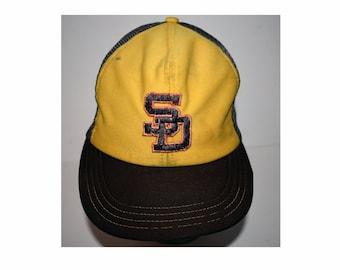 Vintage 1980s 80s San Diego Padres Snapback Hat MLB Brown Yellow Trucker Mesh Hat Adjustable Rare