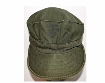 9208c136e0a42 Vintage 1982 Vietnam War USMC Patrol PT Fatigue Cap Hat Medium OG-107  Military Army Uniform Type I