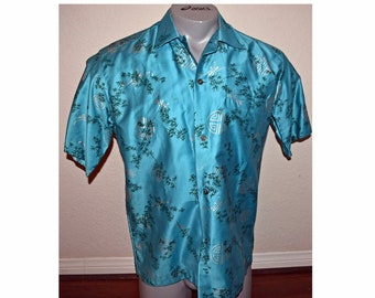ffb2d11e Vintage 1950s Hand Painted Japanese 100% Silk Shirt Size Large Rockabilly  Loop Collar Kramer's Hawaiian Shirt Camp Short Sleeve