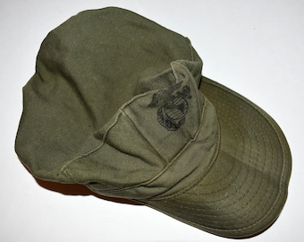 c52e9b1de7549 Vintage 1968 Vietnam War USMC Patrol PT Fatigue Cap Hat X-Small OG-107  Military Army Uniform