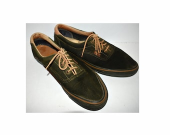 d480e8a596d4 Vintage 1980s 1970s VANS ERA Sneakers Men s Shoes Suede Black × Green Size  US 11 Woodwork