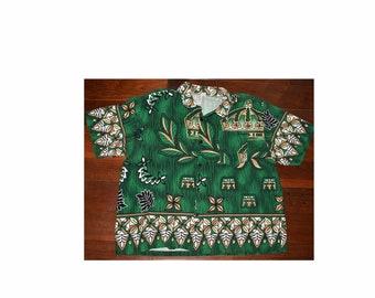 27de7424c Vintage XXL Plus Size Men's Barkcloth Crown Hawaiian Camp Aloha Shirt Royal  Green