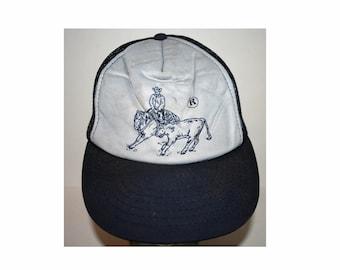 Vintage 1970s 70s Cowboy Cattle Texas Snapback Trucker Mesh Hipster Hat Cap 9eb2bd938cea