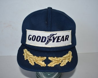 7d2ae805 Vintage 1970s 1980s Snapback Trucker Hat Cap Goodyear Tires Auto Blue One  Size Fits All Racing