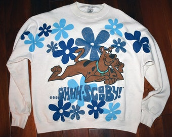 Vintage 1990s 90s Scooby Doo Ahhh Sparkle Hippy Sweater Jacket Pullover XL Cartoon
