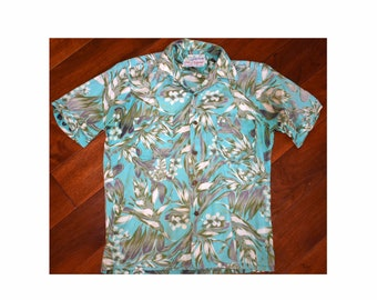 a3fda6c1 Vintage 1950s 50s Waikiki Wear Duke of Hollywood Hawaiian Camp Shirt Loop  Collar Flowers Sanforized Rockabilly Medium