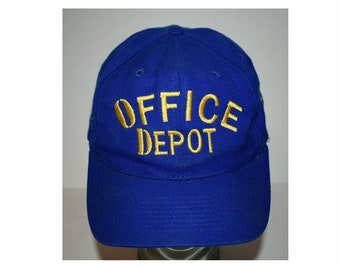 89178d05ce122 Vintage Blue 1980s 80s 70s Office Depot Hat Brown Hat Adjustable Low Prices  Baseball Otto Cap