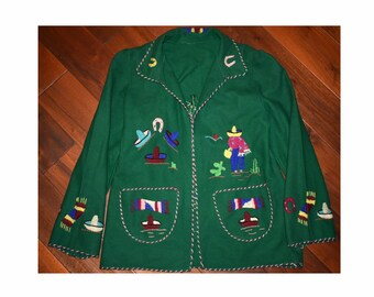 Vintage 1940s 1950s Green Novelty Embroidered Mexican Tourist Coat Jacket Cardigan Rockabilly Souvenir Sweater Large