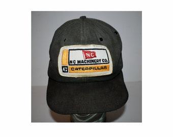 Vintage 1970s 1980s NC Machinery CAT Caterpillar Diesel Power Black Trucker Hat Cap Patch Workwear Snapback Adjustable Rare