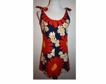 06be611249846 Vintage 1950s 1960s Cotton Bright Flower Sun Mini Dress Shift Style Summer  Mod Mid Century Go Go