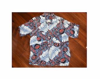 2bd08555 Vintage 1950s 50s Silky Rayon Hawaiian Atomic Tribal Print Shirt Loop  Collar Rockabilly Terrace Club Size Medium Men's