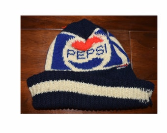 Vintage 1980s 80s Pepsi Cola Drink Warm Knitted Beanie Winter Hat Cap a7950950aa9
