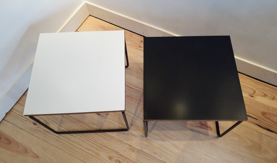 Rare Set Of Two Flying Low Tables Stone Guariche White And Black Design Years 50 60