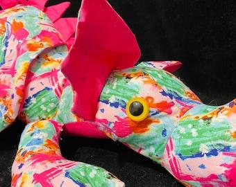 XL pink plush dragon