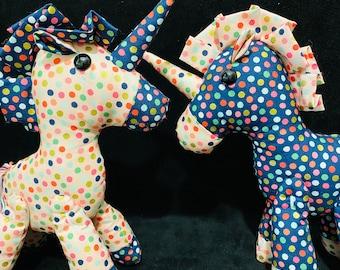 Plush twin unicorns - confetti