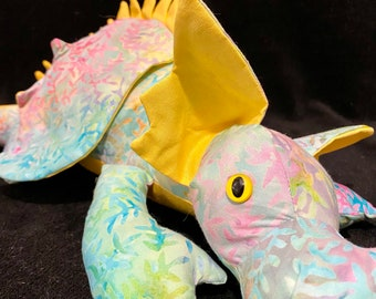 Pastel rainbow plush dragon