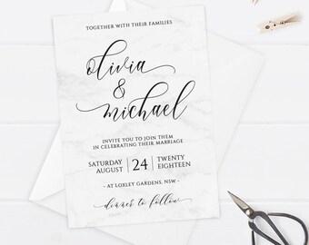 Zapisz Datę Marmurowe Zaproszenie Do ślubu Marmur Etsy