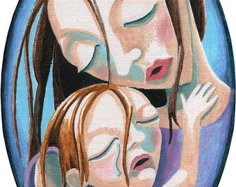 mother and daughter oval painting mothering art mother daughter figurative painting tear motherhood oval tiny motherly love baby