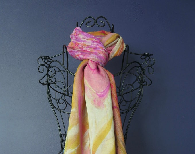Modal and Silk Fabric Scarf, Pink and Gold Scarf, Organic Blend Scarf, Lightweight Shawl, Gifts for Woman