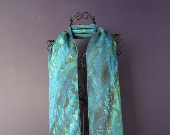 Long silk teal blue scarf, modal silk shawl, travel clothes, gifts for her, summer scarf, gift for artist, unique scarves, lightweight shawl