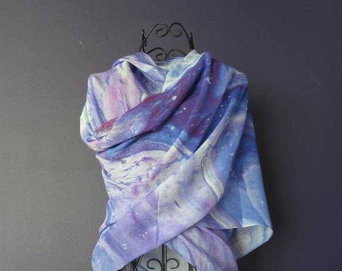 Long Purple Silk Modal Scarf, Fine Art Natural Fabric Scarf