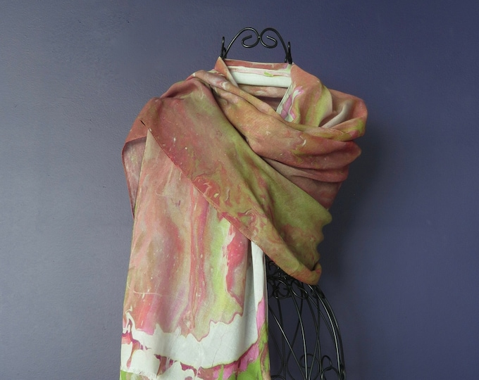 All Season Luxury Silk Modal Art Print Scarf, Long Dusty Rose Silk Natural Fabric Scarf, Unique Gifts for Women