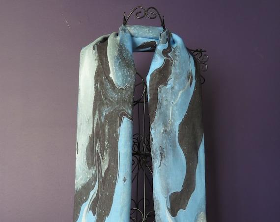 Long Blue Silk Scarf for all seasons or wear as a summer shawl, modal silk blend, blue scarf and wrap