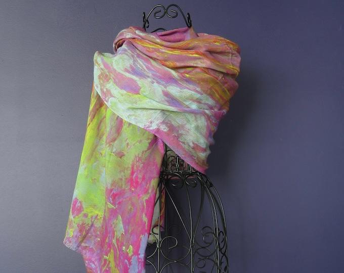All Season Luxury Silk Modal Art Print Scarf, Designer Natural Fabric Art Shawl,