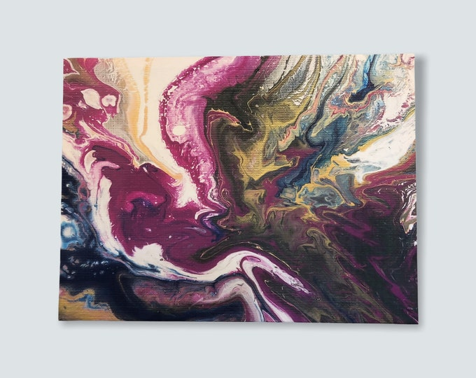 Multi coloured fluid artwork, large abstract artwork, large pour painting, boho painting, burgundy and gold painting, unique wall decor,