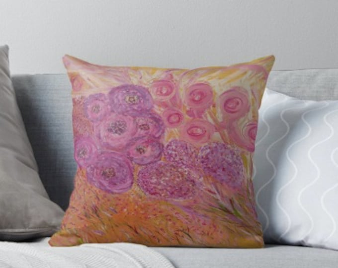 """Floral Pink Mauve and Gold Art Deco Cushion, 18"""" x 18"""""""