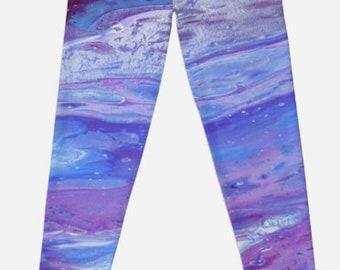 Aladdin lightweight leggings,purple leggings, fluid art clothing,unique leggings, designer leggings, stretch leggings,