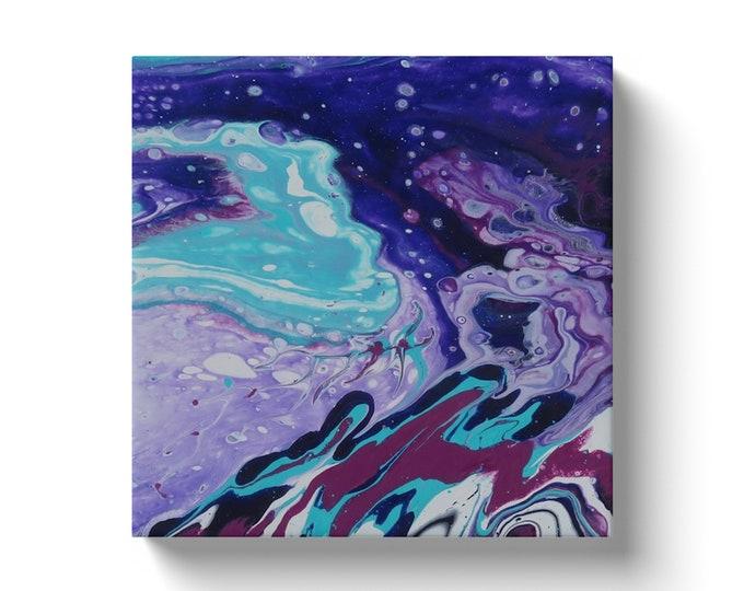 Purple moon, purple artwork, fluid art, purple fluid art, ready to hang art, small art, boho art, unique art, interior design, boho design