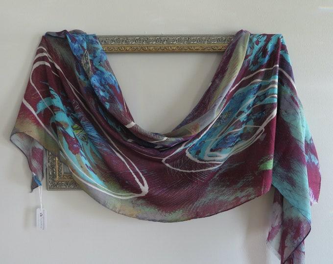 Long Silk Modal Scarf in All Season Blend,