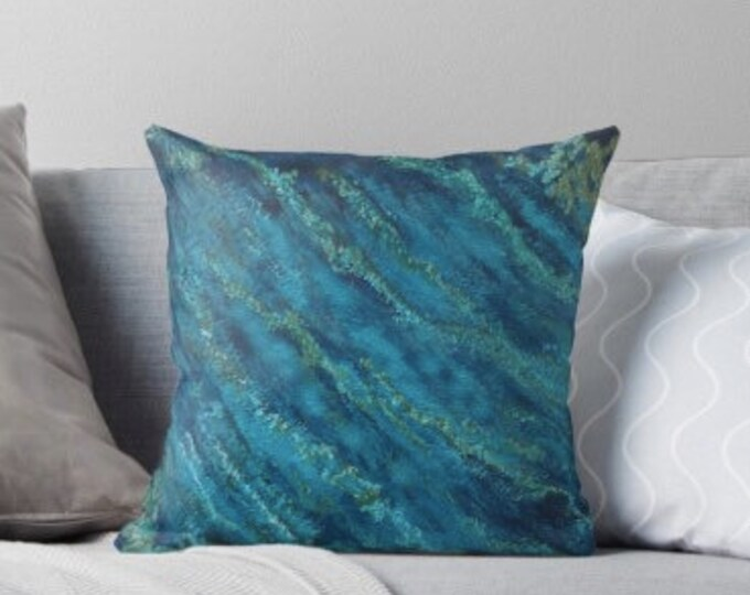 "Blue Indigo and Teal Art Deco Cushion, 20"" x 20"""
