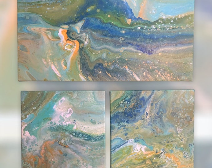 Green blue and yellow painting, abstract angel painting, modern art, green and blue abstract art, 3 piece green art collection,