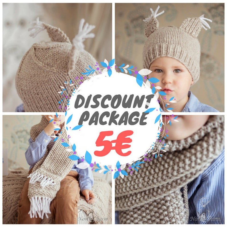 52be6e16237 DISCOUNT PATTERN PACKAGE %  Knitted squirrel themed hat