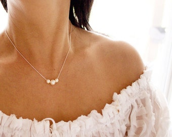 Three Pearl Necklace//Floating Pearl Necklace//Ivory Pearl Necklace//Wedding Jewelry//Bridesmaid Gift//Bridal Party Gift//Silver, Gold fill