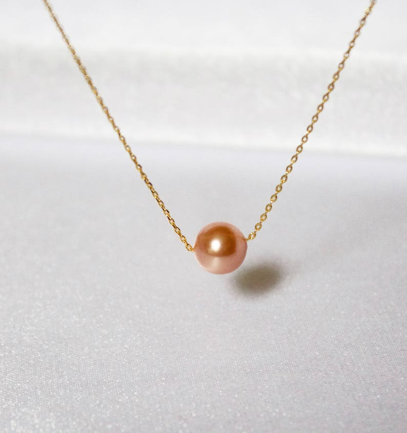 52d075342f092 Gold Peach Single Pearl Necklace//Floating Pearl Necklace//Elegant Pearl  Necklace//Simple Pearl Necklace//Single Pearl Necklace// Dainty