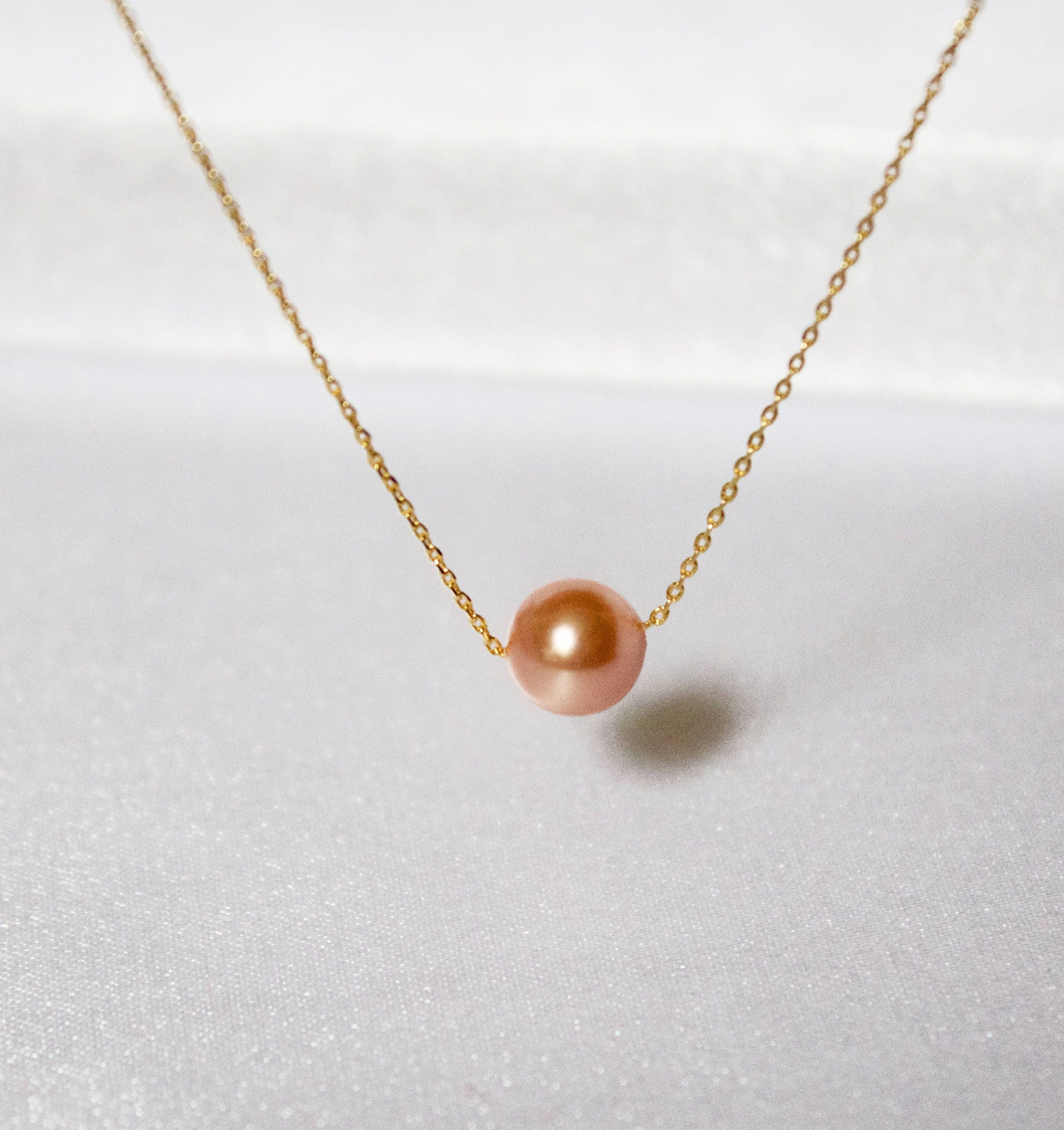 Peach Pearl Necklace: Gold Peach Single Pearl Necklace//Floating Pearl