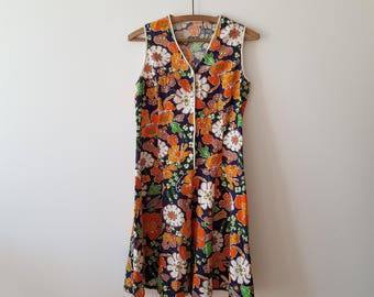Dress / woman / flowers / vintage / orange / Navy Blue