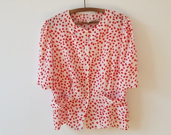 Blouse / dots / red / white / Vintage / medium