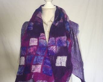 Purple/violet Nuno felted scarf, with silk and merino wool