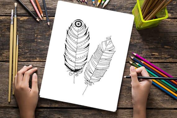Printable Kleurplaten Voor Volwassenen.Printable Feather Kleurplaten Voor Volwassenen En Kinderen Feather Drawing Prints Fun Doodle Tekeningen Digitale Download