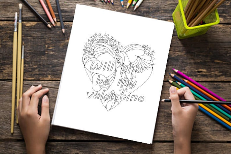 Valentines day coloring pages for adults - Set of 2 - Printable floral heart drawing - Coloring sheet - Doodle design - Printable card