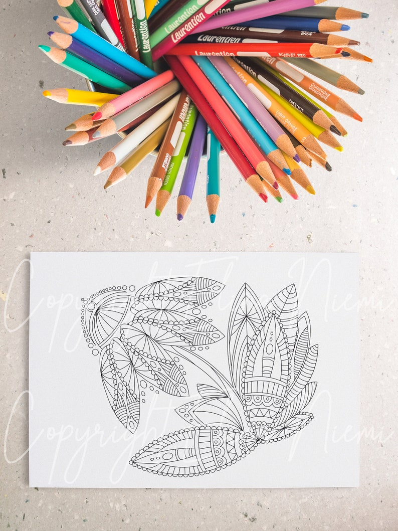 Flower Coloring Page Printable Coloring Page Coloring Pages Etsy