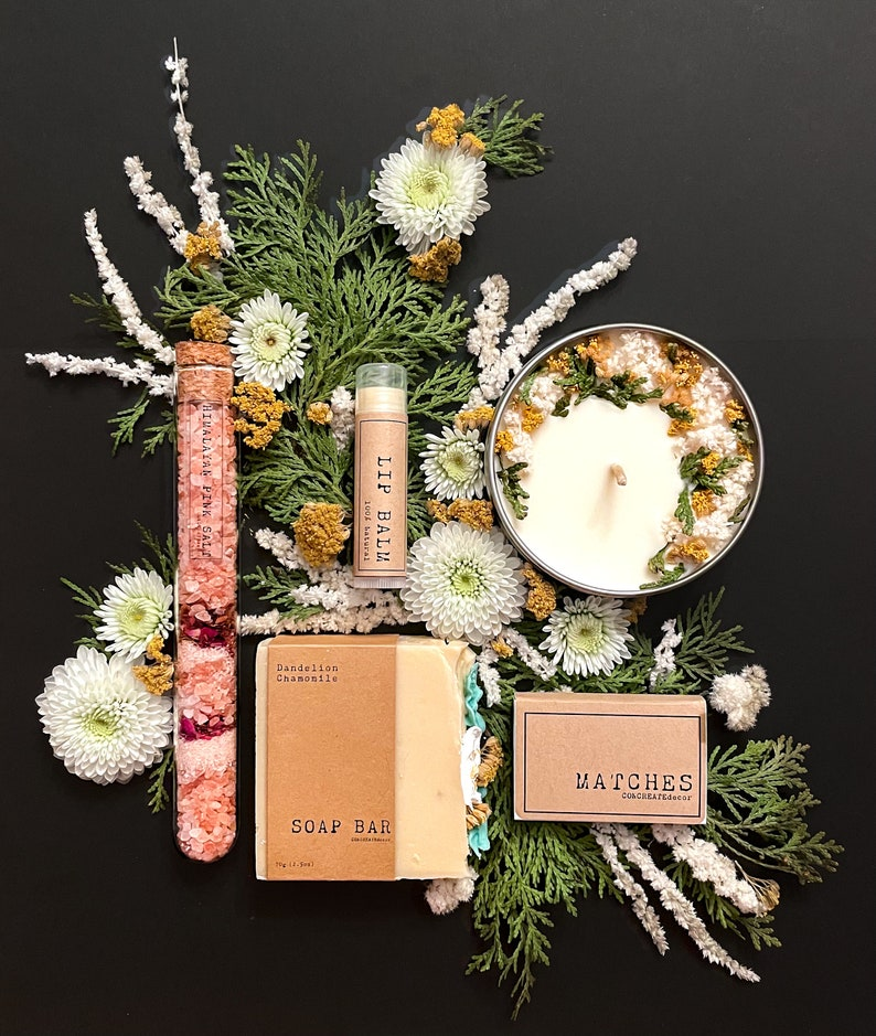 Bath & Beauty box  Spa gift set for her  Gift box for woman Dandelion-Chamomile