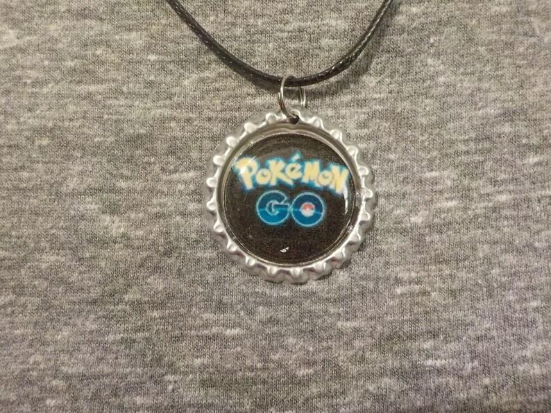 Pokemon inspired bottle cap necklaces