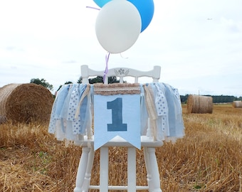 Boy 1st Birthday Highchair Banner One Year Old Decor Cake Smash Props First Party Decorations Farm High Chair Bunting
