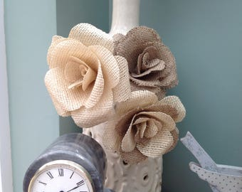 3 x large hessian flowers in natural colour combination