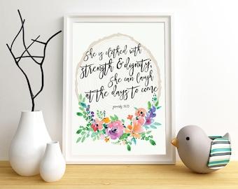 Proverbs 31 Scripture wall art | Digital Download | Printable art | Floral design | Bible passage | Typography